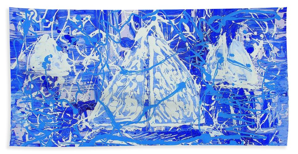 Sailing Hand Towel featuring the painting Sailing With Friends by J R Seymour