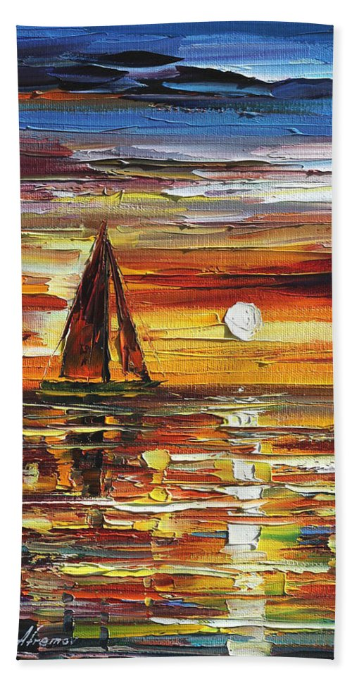 Afremov Bath Sheet featuring the painting Sailing With The Sun by Leonid Afremov