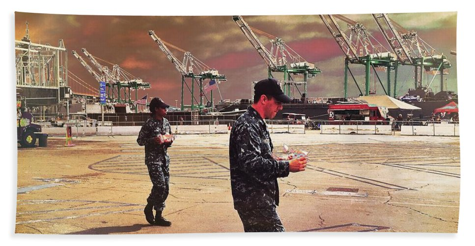 Fleet Week Hand Towel featuring the photograph Sailors And Food Trucks by Judith Kitzes