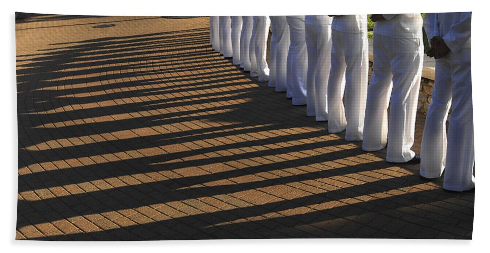 Standing Hand Towel featuring the photograph Sailors Stand At Parade Rest by Stocktrek Images