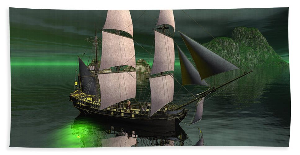 Sailship Hand Towel featuring the digital art Sailship In The Night by John Junek