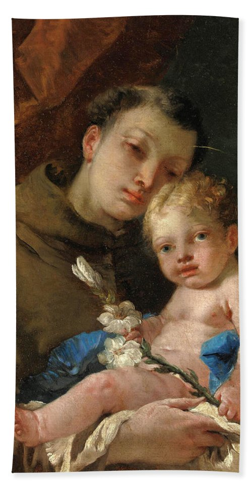Francesco Zugno Bath Sheet featuring the painting Saint Anthony Of Padua And The Infant Christ by Francesco Zugno