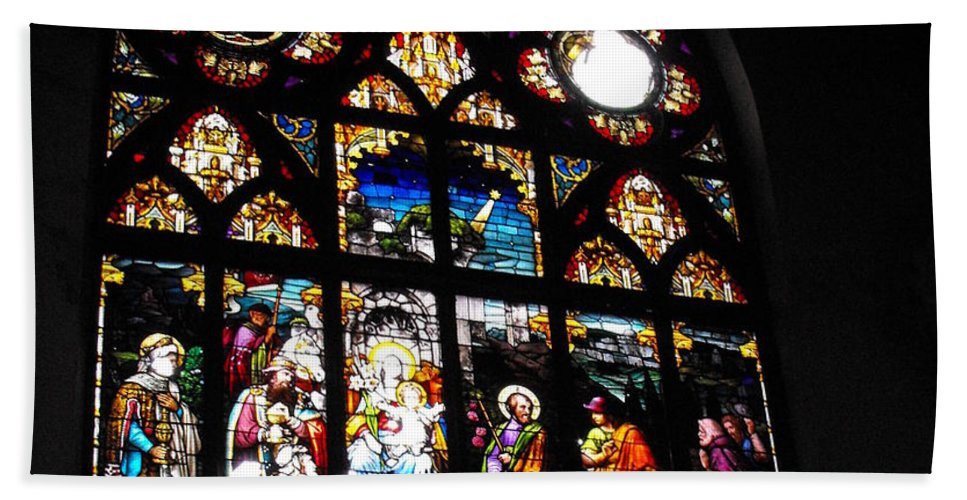 Saint Augustine Stained Glass Hand Towel featuring the photograph Saint Augustine Stained Glass by Ginger Repke