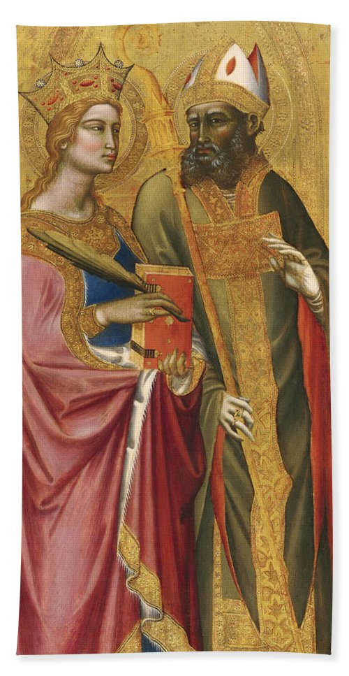 Angelo Puccinelli Bath Sheet featuring the painting Saint Catherine And A Bishop Saint Possibly Saint Regulus by Angelo Puccinelli
