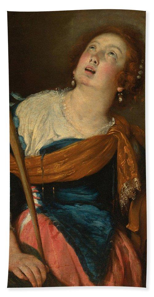 Bernardo Strozzi Hand Towel featuring the painting Saint Cecilia by Bernardo Strozzi