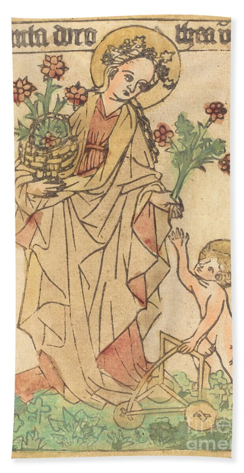 Hand Towel featuring the drawing Saint Dorothy by German 15th Century