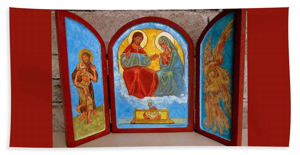 Francis Hand Towel featuring the painting Saint Francis Tryptich Opened by Sarah Hornsby