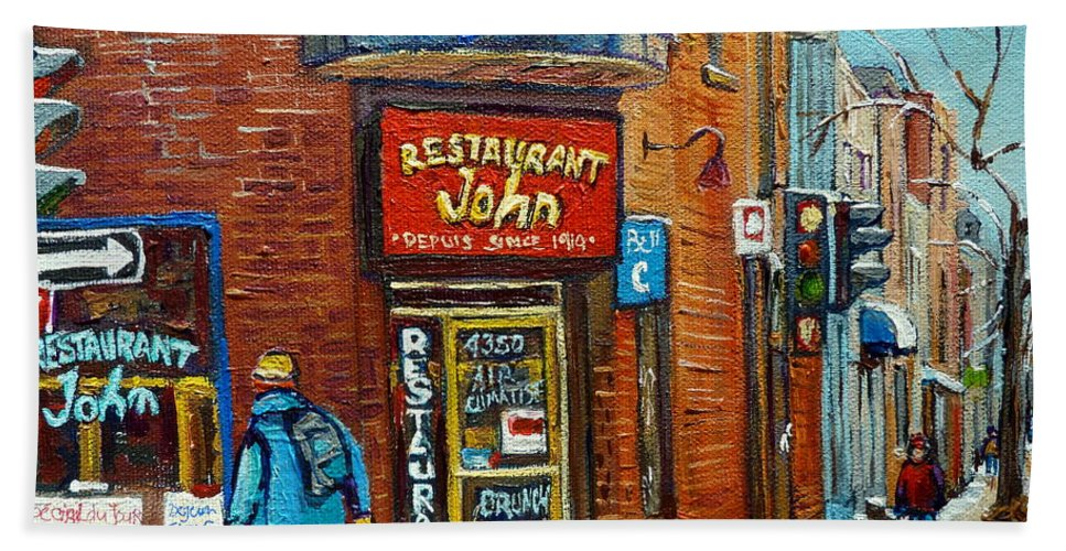 Restaurant John Montreal Bath Towel featuring the painting Saint Henri Street In Winter by Carole Spandau