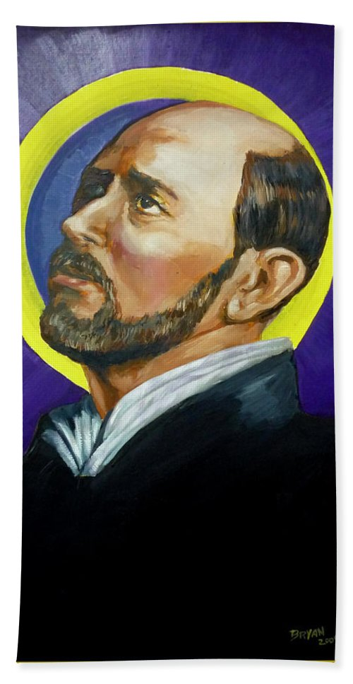 Saint Bath Towel featuring the painting Saint Ignatius Loyola by Bryan Bustard