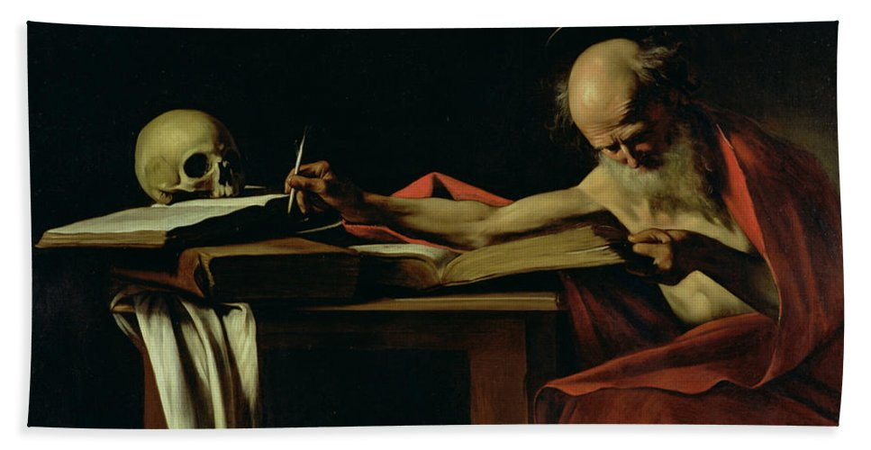 St Jerome Writing Hand Towel featuring the painting Saint Jerome Writing by Caravaggio