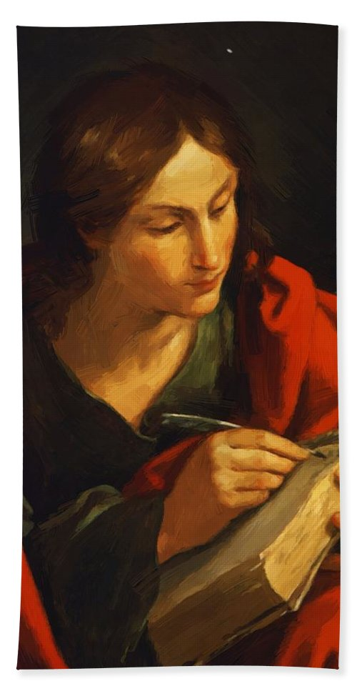 Saint Hand Towel featuring the painting Saint John 1621 by Reni Guido