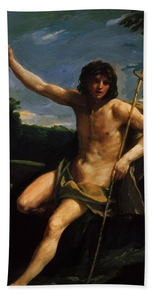 Saint Hand Towel featuring the painting Saint John The Baptist 1637 by Reni Guido