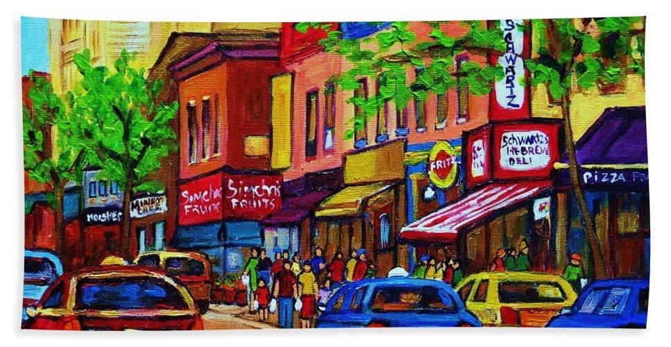 Cityscape Bath Sheet featuring the painting Saint Lawrence Street by Carole Spandau