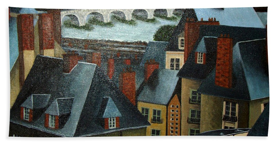 Acrylic Hand Towel featuring the painting Saint Lubin Bar In Lyon France by Nancy Mueller
