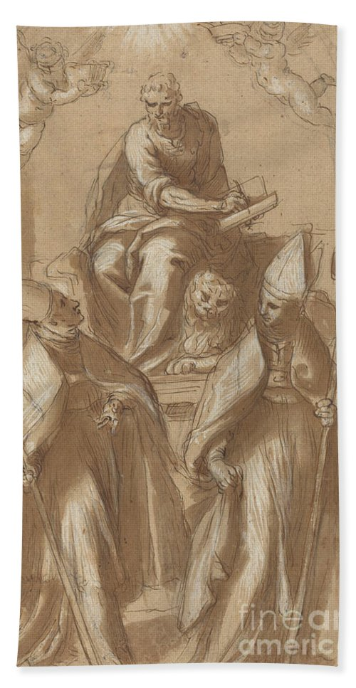 Hand Towel featuring the drawing Saint Mark With Two Bishops And Putti by Attributed To Jacopo Palma Il Giovane