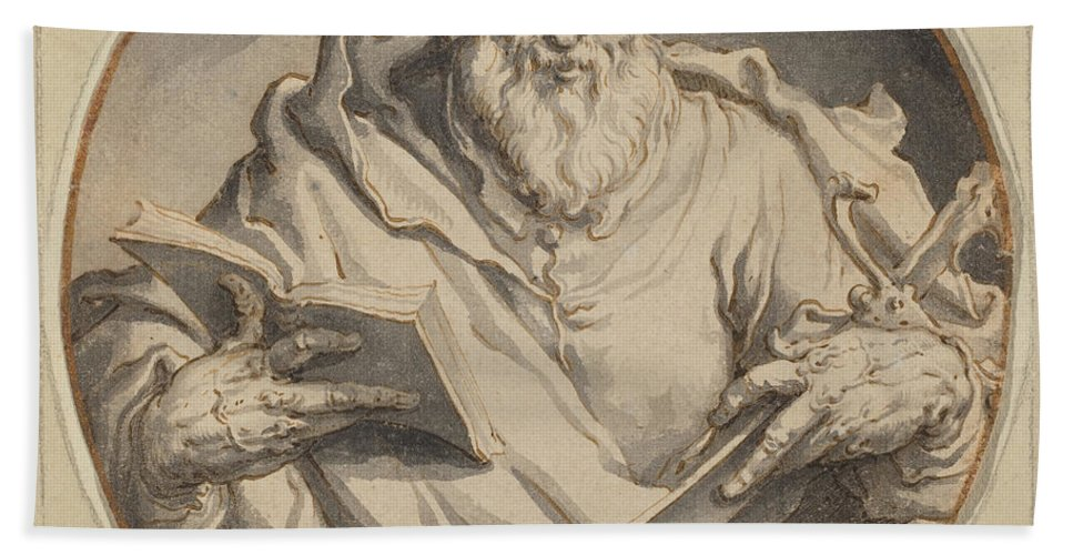 Hand Towel featuring the drawing Saint Matthew by Jacques De Gheyn Ii