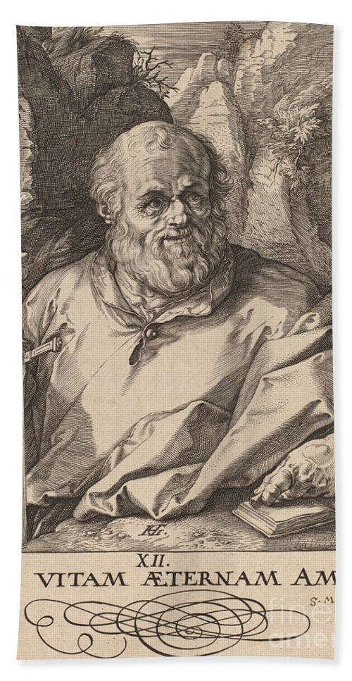 Hand Towel featuring the drawing Saint Matthias by Hendrik Goltzius