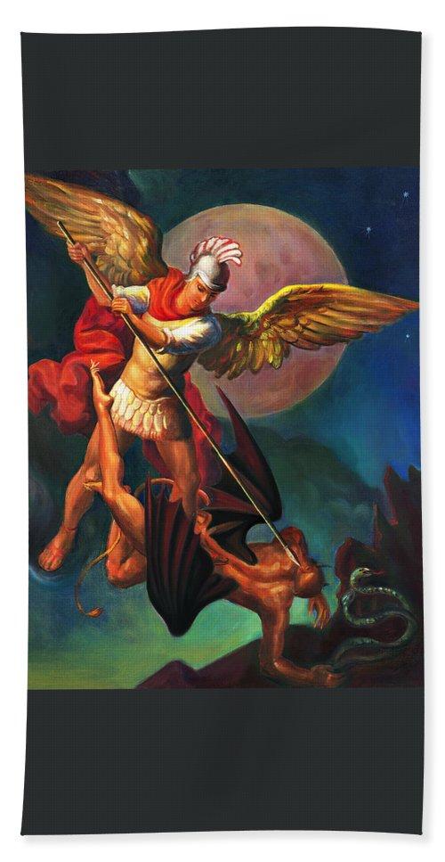 Bible Hand Towel featuring the painting Saint Michael The Warrior Archangel by Svitozar Nenyuk