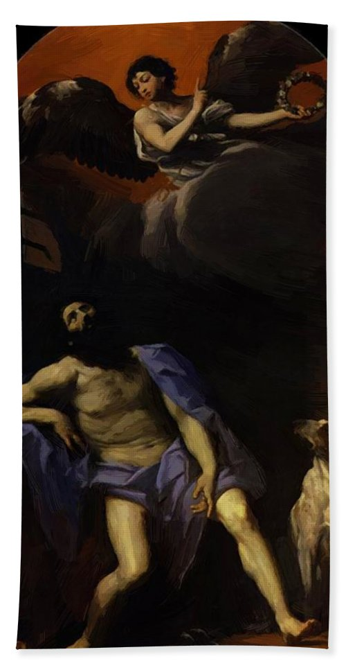 Saint Hand Towel featuring the painting Saint Roch 1617 by Reni Guido