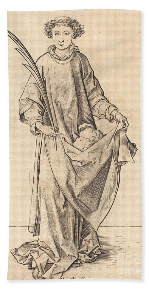 Hand Towel featuring the drawing Saint Stephen by Martin Schongauer