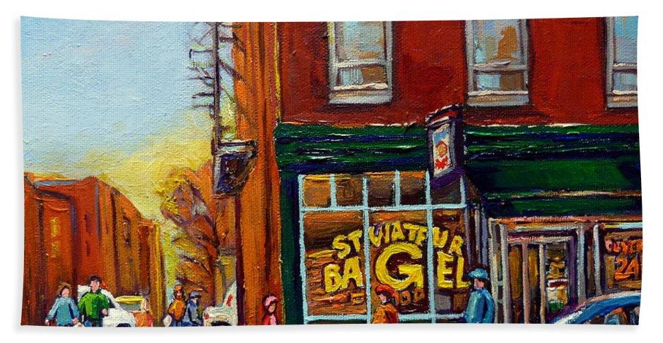 Montreal Bath Sheet featuring the painting Saint Viareur And Park Avenue Bagel Shop by Carole Spandau