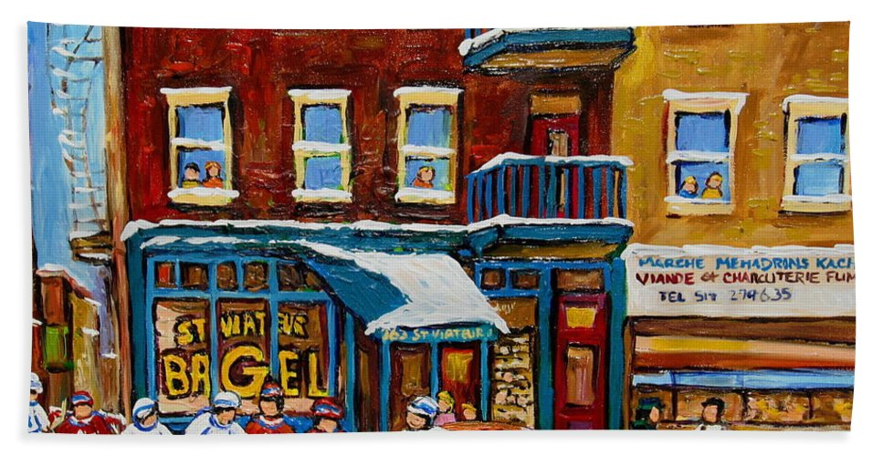Montreal Hand Towel featuring the painting Saint Viateur Bagel With Hockey by Carole Spandau