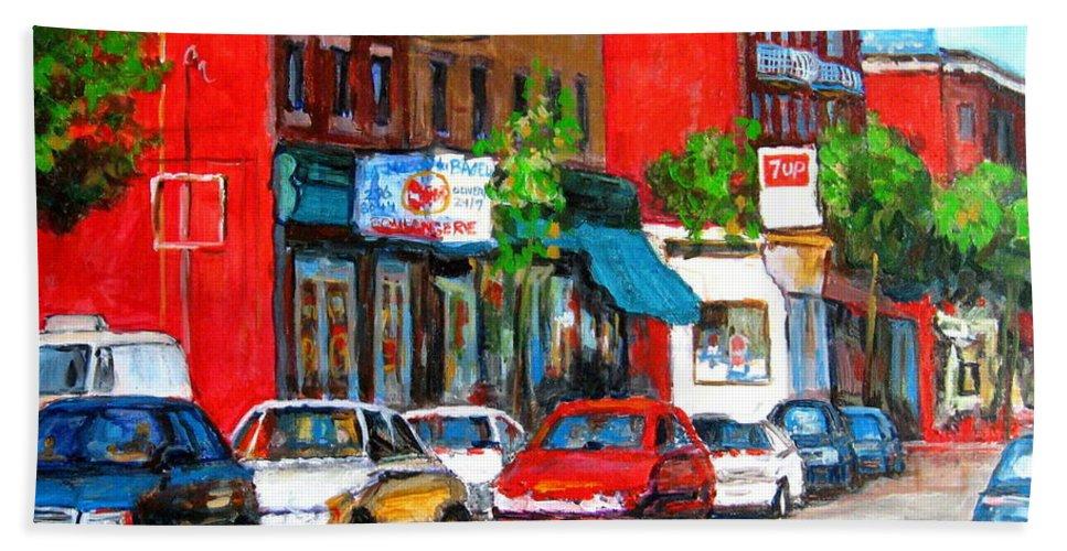 St.viateur Bagel Hand Towel featuring the painting Saint Viateur Street by Carole Spandau