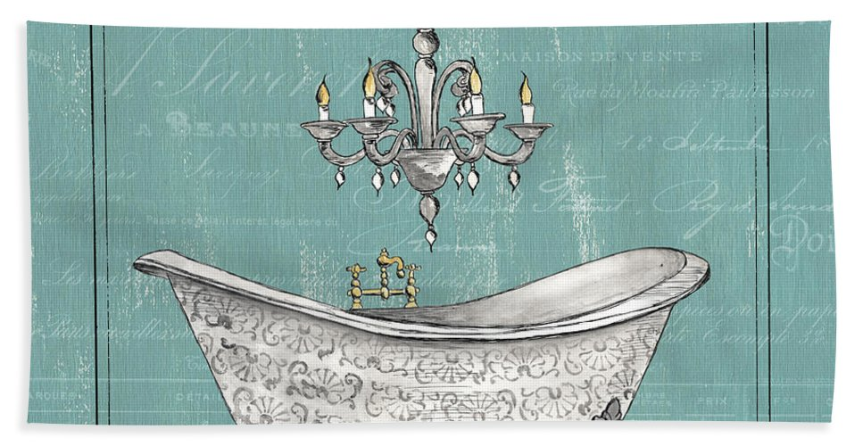 Bath Hand Towel featuring the painting Salle De Bain by Debbie DeWitt