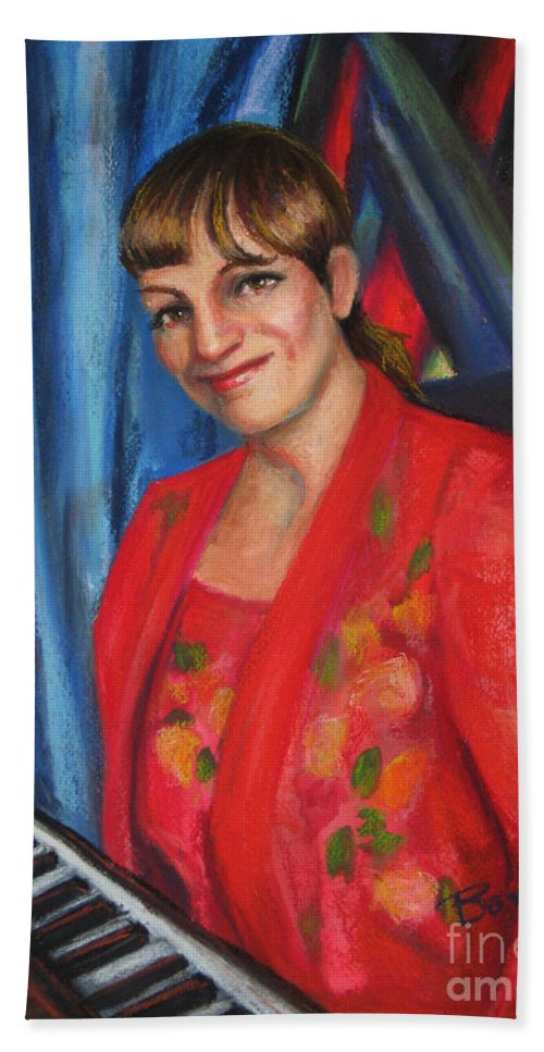 Musician Bath Towel featuring the painting Sally Ann by Beverly Boulet