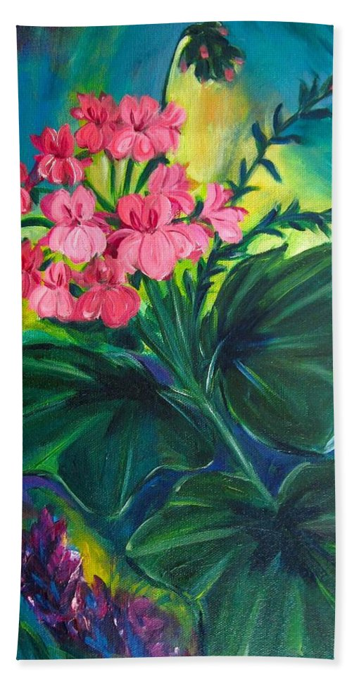 Floral Hand Towel featuring the painting Salmon Pink Geraniums by Jennifer Christenson