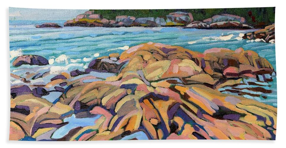 916 Hand Towel featuring the painting Salmon Rocks by Phil Chadwick