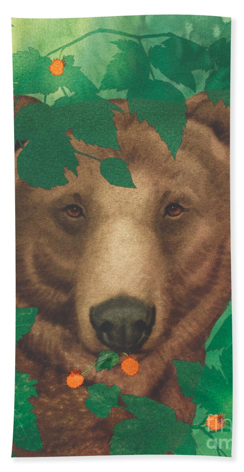 Animals Bath Sheet featuring the painting Salmonberry Bear by Tracy Herrmann