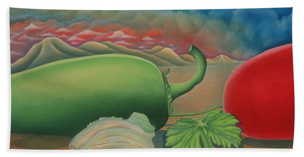 Vegetables Hand Towel featuring the painting Salsa Across Texas by Jeniffer Stapher-Thomas