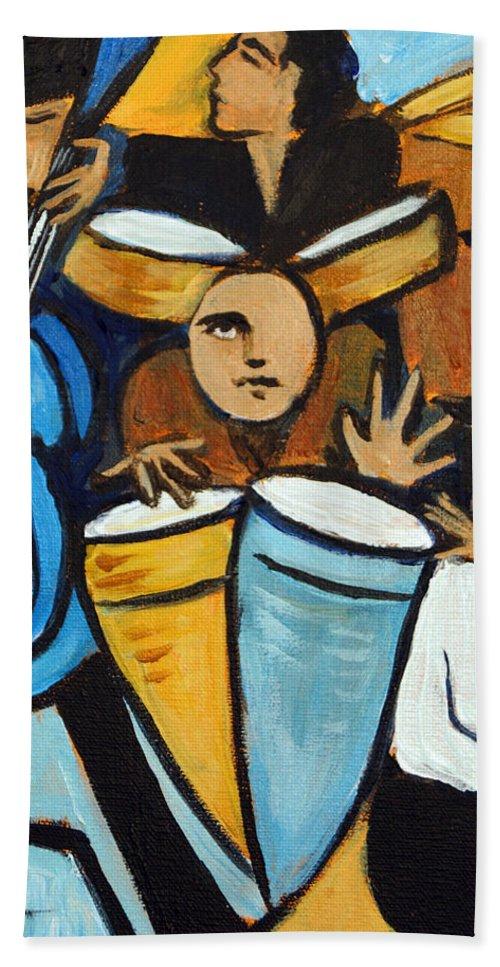 Cubist Salsa Dancers Bath Sheet featuring the painting Salsa Night by Valerie Vescovi
