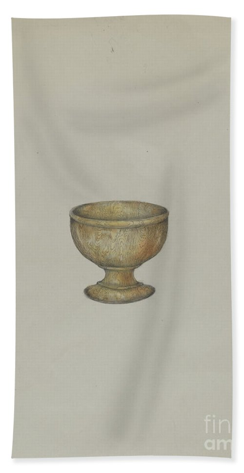 Hand Towel featuring the drawing Salt Cup by Henry Meyers