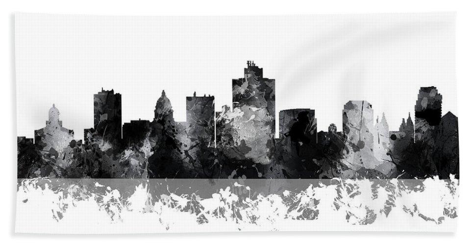 Salt Lake City Utah Skyline Bath Sheet featuring the digital art Salt Lake City Utah Skyline by Marlene Watson