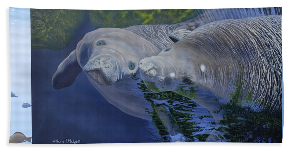 Manatees Hand Towel featuring the painting Salt Water Ballet - Manatees - 2 by Anthony J Padgett
