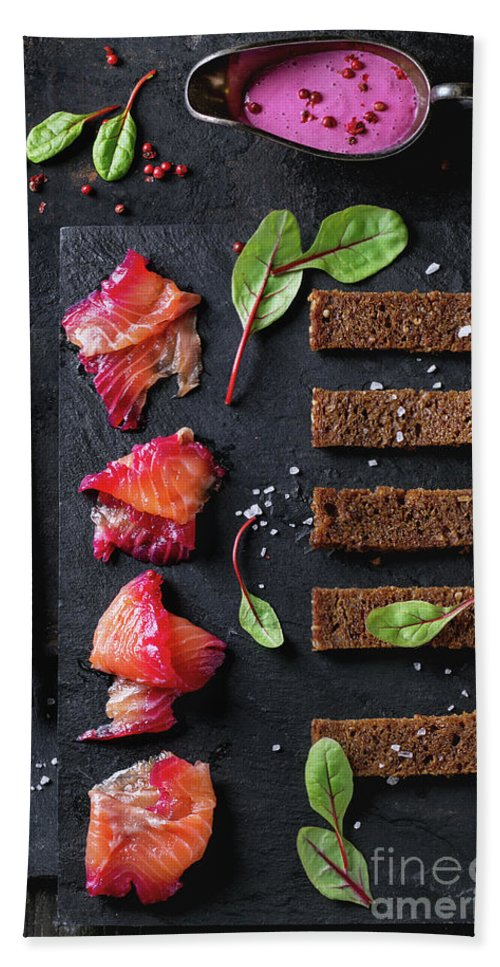 Salmon Bath Sheet featuring the pyrography Salted Salmon With Beetroot by Natasha Breen