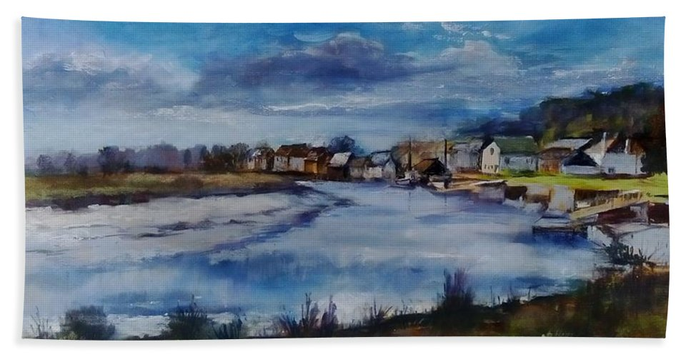 River Hand Towel featuring the painting Saltwater Village Riverside by Angelina Whittaker Cook