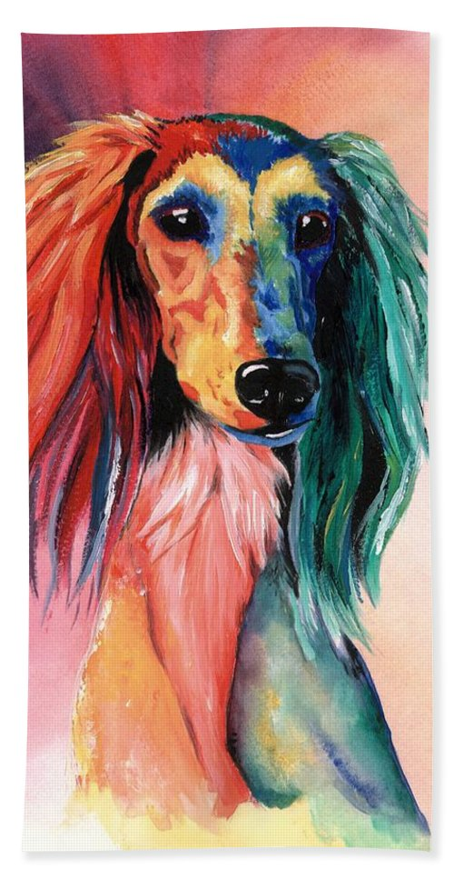 Saluki Hand Towel featuring the painting Saluki Sunset by Kathleen Sepulveda