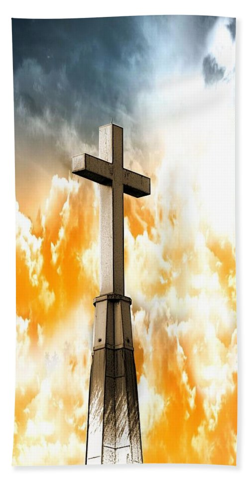 Cross Hand Towel featuring the photograph Salvation by Aaron Berg