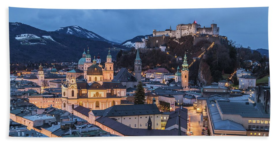 Copy Space Bath Sheet featuring the photograph Salzburg Skyline At Twilight by Travel and Destinations - By Mike Clegg