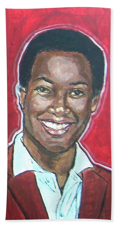Sam Cooke Hand Towel featuring the painting Sam Cooke by Bryan Bustard