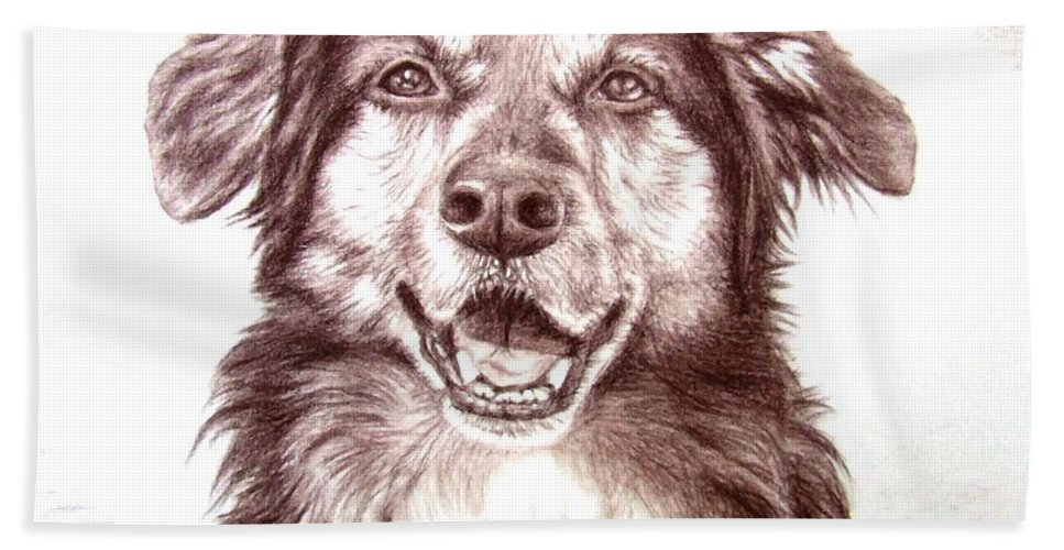 Dog Hand Towel featuring the drawing Sam by Nicole Zeug