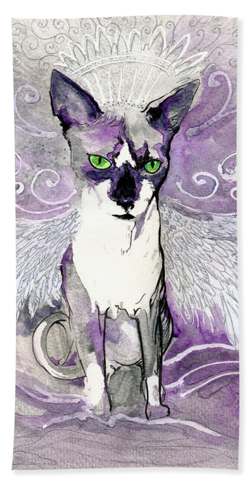 Cat Hand Towel featuring the painting Sam The Sphinx by Katherine Nutt