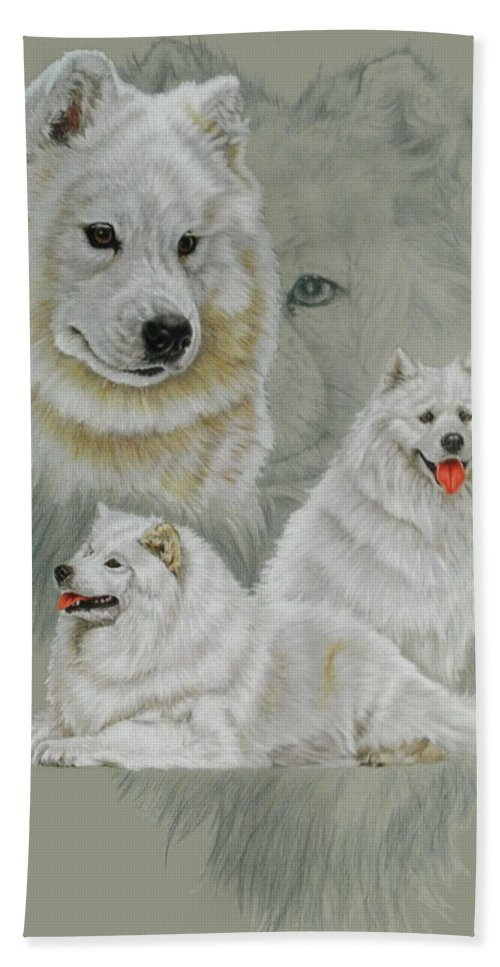 Working Group Bath Sheet featuring the mixed media Samoyed Revamp by Barbara Keith