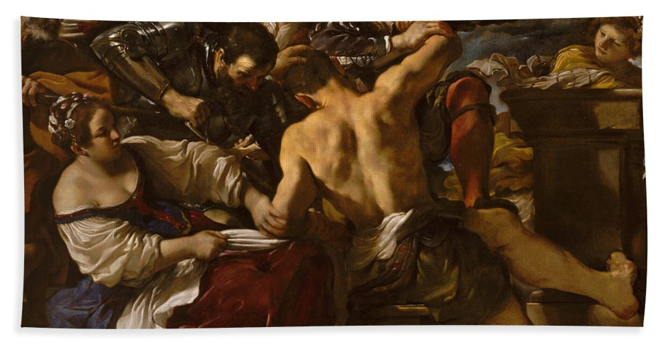 Guercino Hand Towel featuring the painting Samson Captured By The Philistines by Guercino