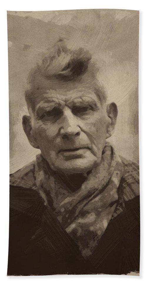 Samuel Beckett Hand Towel featuring the painting Samuel Beckett 2 by Afterdarkness