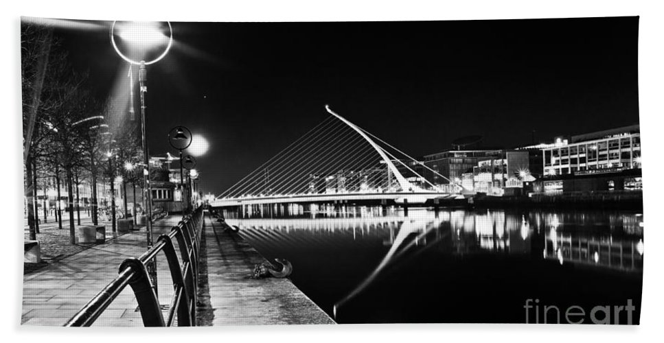 The Convention Centre Reflection Hand Towel featuring the photograph Samuel Beckett Bridge 2 Bw by Alex Art and Photo