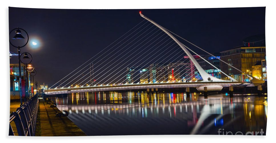Samuel Beckett Bridge Hand Towel featuring the photograph Samuel Beckett Bridge by Alex Art and Photo